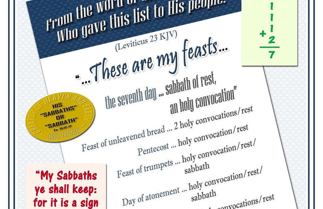 Yah's List of Feasts